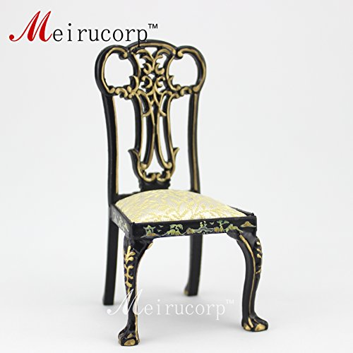 dollhouse 1:12 scale miniature furniture black Hand painted Landscape painting Chair ()