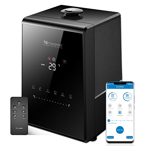 Proscenic 807C Humidifiers, with App and Alexa Control, Warm and Cool Mist, Customized Humidity, 7 Adjustable, Baby Mode, 5.5L Large Capacity Vaporizer for Bedroom, Black
