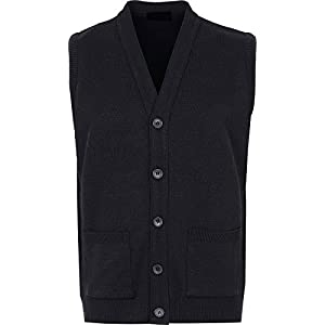 Mens Knitted Waistcoat Full Front Button Closure with Front Pockets V Neck Sleevless Knitted Top