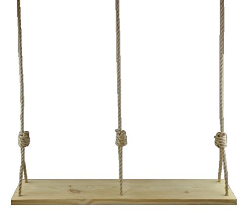 Premium 46″ Double Wooden Rope Tree Swing for Adults Kids Outdoor Patio Pine Wood