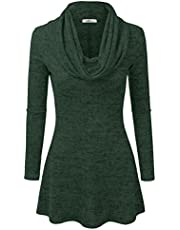 Doublju Marled Cowl Neck A-Line Tunic Sweater Dress Top for Women with Plus Size
