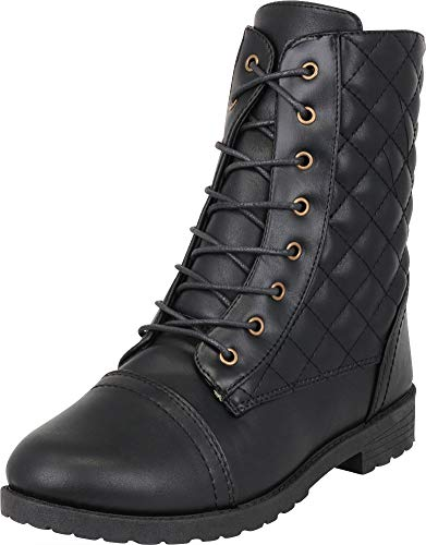 - Cambridge Select Women's Round Toe Quilted Military Moto Lace-Up Combat Boot,8 B(M) US,Black PU