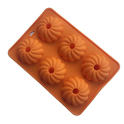 Always Your Chef 4-Cavity Reusable Silicone Pumpkin Flowers Cupcake Molds Baking Cups Muffin Pans, Random Colors