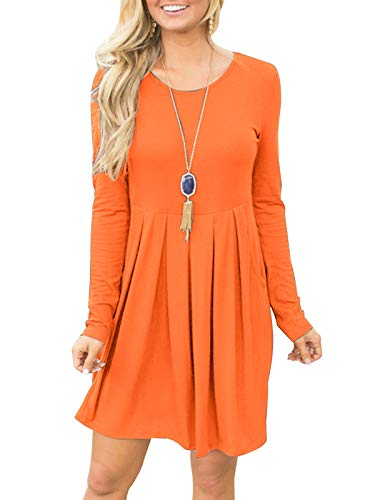 Fanfly Women's Pleated Swing Dress Long Sleeve Casual T Shirt Dress With Pockets, Orange, X-Large