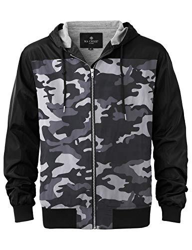 Ma Croix Essentials Mens Premium Hooded Windbreaker Jacket Lightweight Slim Fit Water Resistant Shell