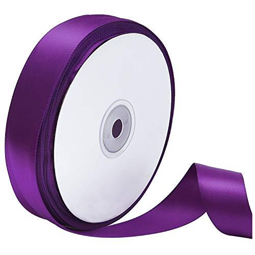 Dark Purple Satin - Livder Double Face Purple Satin Ribbon, 1 inch Wide 50 Yard Length (Purple)