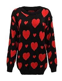 FASHION FAIRIES Ladies Womens Hearts Print Winter Warm Sweater Top