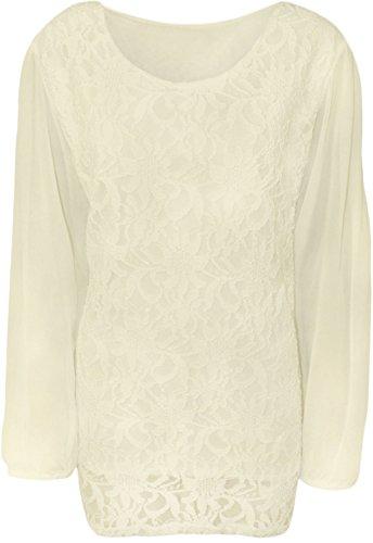 56 Sequin Size Top Femmes 42 de Long Plus Manches Crme Floral Lace Fashion Mousseline Taille Top Soie W7nSp4n