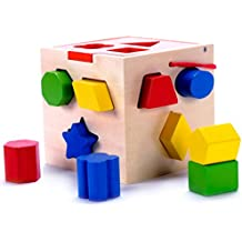 Classic Wooden Shape Sorter Toy w/ Hinged Lid & Carrying Strap - 10 Color Solid Wood Geometric Shape Puzzle Pieces - Developmental Toy for Preschool Toddlers 1 2 & 3 Year Old Boys & Girls