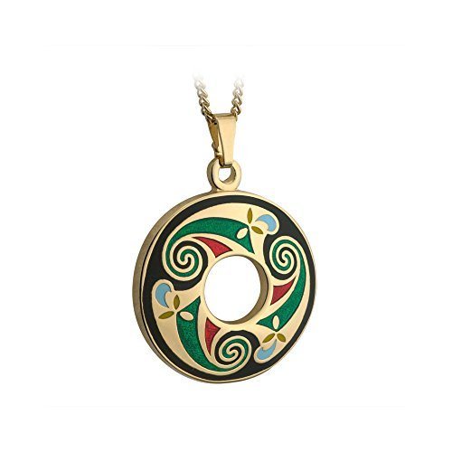 Round Celtic Necklace Medium Gold Plated & Blue Irish Made by Tara