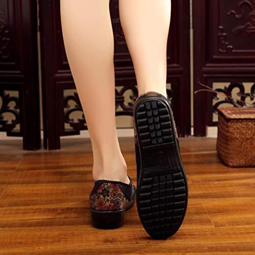 Informal Malla Plataforma Mujer Respirable Logobeing Mocasines Zapatillas Agujero Plano Zapatos Nacional Tacón Estilo Café Zapatos Casual qTWvRnW4