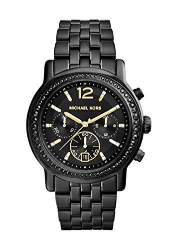 Dial Black Ip Bracelet - Michael Kors MK5984 Baisley Crystal Bezel Black IP Stainless Steel Bracelet Black Dial Chronograph Watch