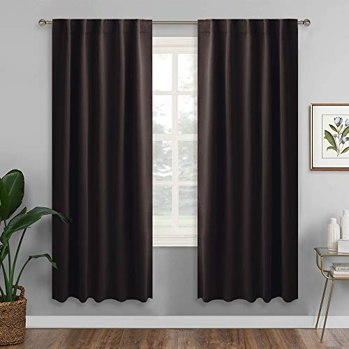 RYB HOME Blackout Curtains for Cafe/Kitchen, Machine Washable Black Out Drapes for Living Room/Nursery/Cottage/Home Office Decor, Wide 42