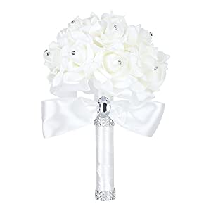 Febou Wedding Bouquet Crystal Roses Bridesmaid Bouquet, Bridal Bouquet Artificial Flowers for Wedding, Party and Church (Ivory-Small Size) 33
