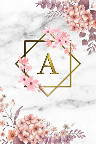 - A: Cute Initial Monogram Letter A Dot Grid Bullet Notebook. Pretty Personalized Journal Diary for Writing & Notes with Dot Grid Pages for Women & Girls - Grey Marble & Gold Pink Floral Print
