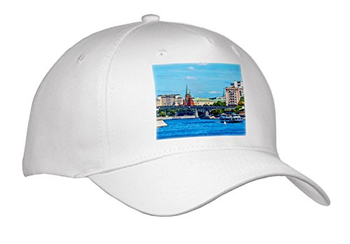 3dRose Alexis Photography - Moscow City - Moscow River, City, Kremlin, Summer Navigation - Caps - Adult Baseball Cap (River City Cap)