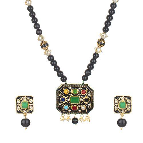 Runjhun Jewellery Navaratna Semi Precious Gemstones Black Beads Traditional Designer Necklace Handicrafted in India for Women Girls