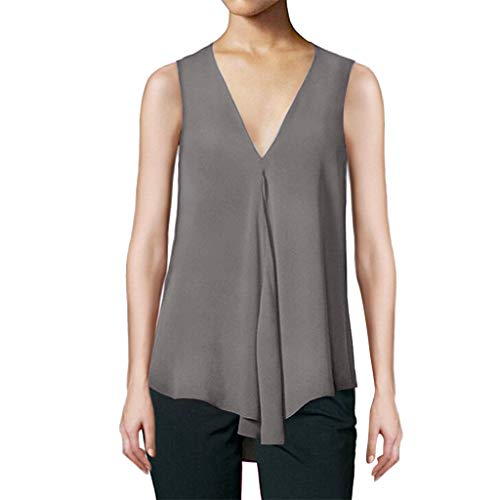 Women's Sleeveless V Neck Vest Solid Color Casual Large-Scale Short-Sleeve Lightweight Top Summer Simple Vest Gray
