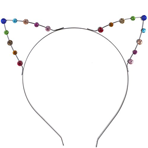 Lux Accessories Silver Tone Rainbow Multicolor Gay Pride Cat Ear Headband