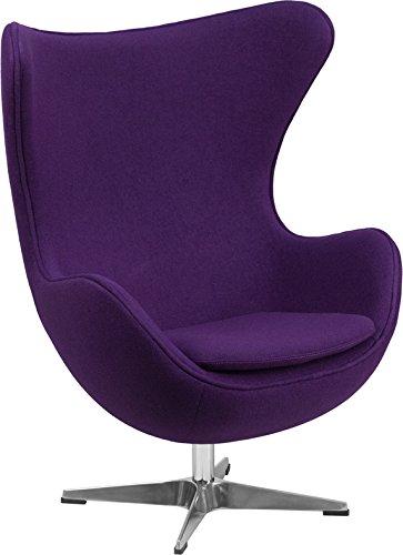 Flash Furniture Purple Wool Fabric Egg Chair with Tilt-Lock Mechanism