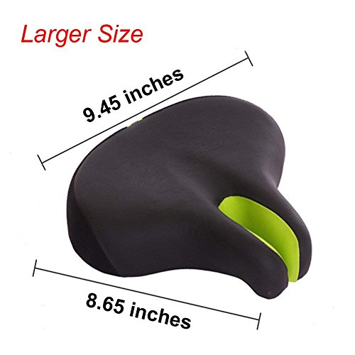 Zisen Wide Bike Saddle Seat Noseless High Resilience MTB Large Bicycle Seats Comfortable Outdoor Sports Cycling Pad Cushion for Women & Men Black by Zisen (Image #2)