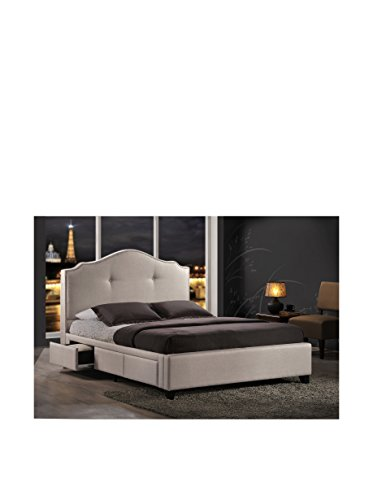 Baxton Studio Armeena Linen Modern Storage Bed with Upholstered Headboard, King, Beige