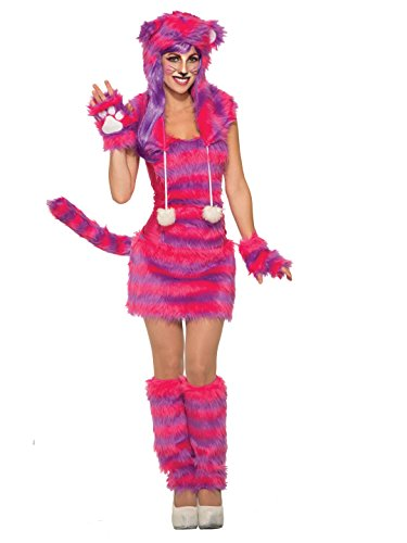 Adult Deluxe Cheshire Cat Costumes (Forum Women's Cheshire Cat Deluxe Costume with Corset Top, Pink/Purple, STD)