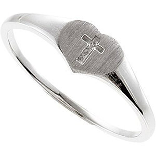 Size 3 Sterling Silver Girlss Heart and Cross 4.25mm Signet Ring