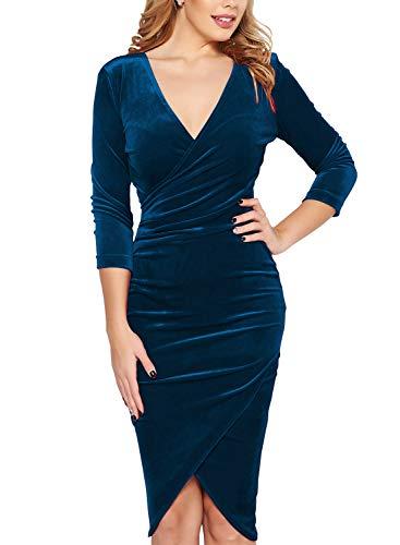 d48d2c7086d Fantaist Women s Elegant 3 4 Sleeve V Neck Cocktail Party Pencil Sheath  Wrap Midi Dress (M