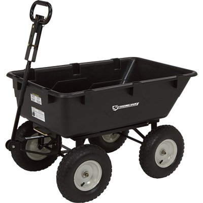 Strongway Dump Cart – 39in.L x 25in.W, 1,200-Lb. Capacity