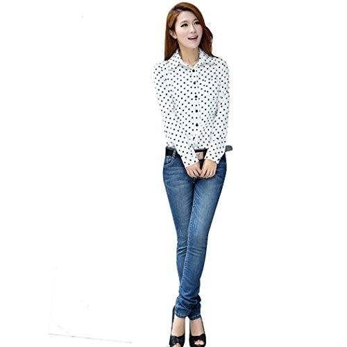 FOREVER YUNG Women's Casual Slim Fit Polka Dotted Long Sleeve Botton Down Shirt White S