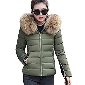 ZEVONDA Women Down Jackets Coats - Winter Warmer Windproof Thicken Puffer Quilted Padded Parka Slim Fit Short Hooded Full Zip Overcoat Outerwear,Army Green/EU XS=Tag M