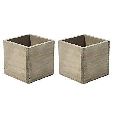 4  Square Rustic Wood Planters with Plastic Liner - Set of 2