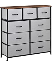HOMCOM 9 Drawers Storage Chest Dresser Organizer Unit w/Steel Frame, Wood Top, Easy Pull Fabric Bins, for Bedroom, Hallway, Closet, Entryway