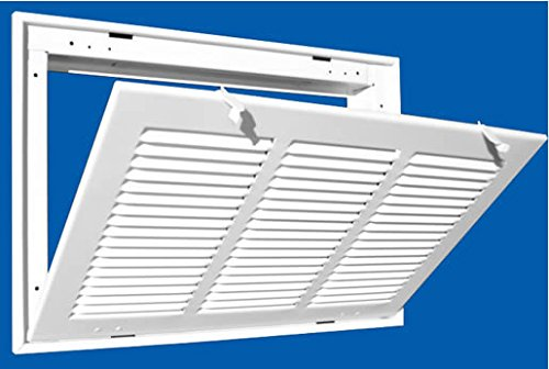 14'' X 20 Steel Return Air Filter Grille for 1'' Filter - Fixed Hinged - ceiling Recommended - HVAC DUCT COVER - Flat Stamped Face - White [Outer Dimensions: 16.5''w X 22.5''h] by HVAC Premium (Image #3)
