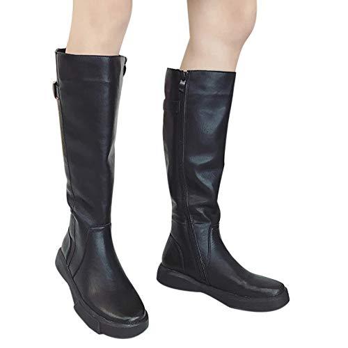 Femme Noir À Plat Sur Le Hiver Bottes Fond Automne Longues Cuisse Chaussures Genou Magiyard pw5OqI