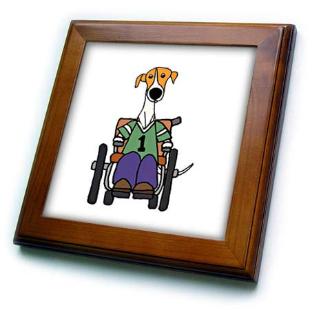 3dRose All Smiles Art - Animals - Funny Cute Greyhound Dog in Wheelchair Handicapped Cartoon - 8x8 Framed Tile (ft_307671_1)