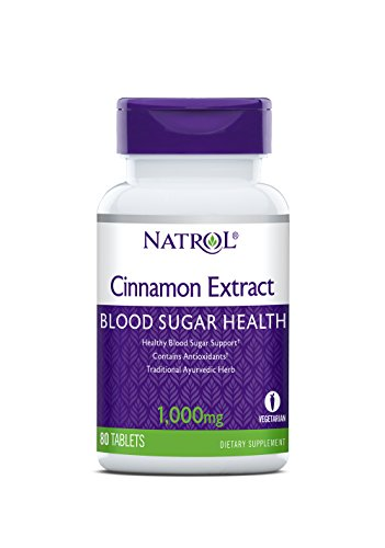 Natrol Cinnamon Extract 1,000mg, 80 Tablets (Pack of 4)