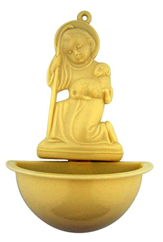 Moulded Plastic Infant Christ with Lamb Holy Water Font, 5 Inch by Religious Gifts