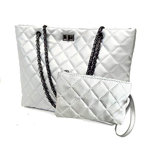 Quilted Handbags for Women Metal Chain Strap Purses Shoulder -