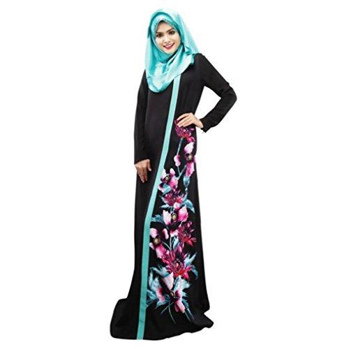 Robe Femmes Poche Maxi Musulman Longue Retro Multicolore Orient A Moyen Impression YUYOUG Islamique FwUgqxnHO
