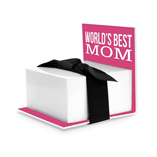 Sticky Notes Holder, Worlds Best Mom, Pink (Gift For Mother)