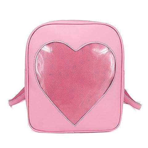 2017 Summer Candy Backpacks Transparent Love Heart Shape Pu Leather School Bags for Teenage Girls Kids Purse Lovely Ita Bag - Pink Kids Bag