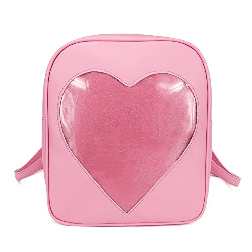 2018 Summer Candy Backpacks Transparent Love Heart Shape Pu Leather School  Bags for Teenage Girls Kids e7244c6925f94