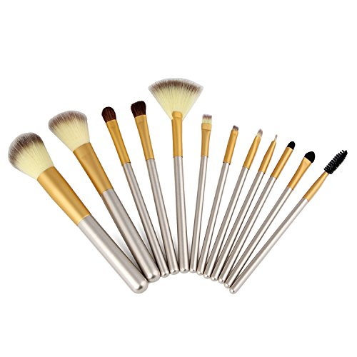 Make up Brushes, VANDER LIFE 12Pcs Professional Makeup Brushes for Women Synthetic Hair Wood and Metal Handle with Makeup Bag Set for Face Eyes Shadow