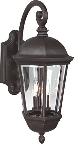 Craftmade Z3014-92 Wall Lantern with Beveled Glass Shades, Bronze Finish