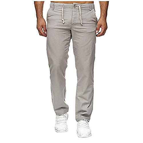 (Men's Pants Casual Linen Drawstring Straight-fit Pants Athletic-fit Work Cargo Pants with Pockets Gray)