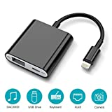 HENKUR USB Camera Adapter, USB 3.0 Female OTG Adapter with Charging Interface Data Sync Charge Cable Compatible with iPhone X 8 7 6 Plus iPad, Support Card Reader, MIDI Interface, Hubs(Black)
