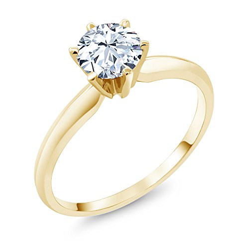 Gem Stone King 1.20 Ct Hearts And Arrows White Created Sapphire 14K Yellow Gold Engagement Solitaire Ring (Size 6)