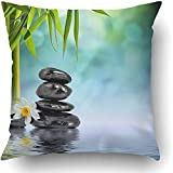 I DO Throw Pillow Covers Green Spa Zen Stones and Bamboo on the Water Black Nature Health Beauty Relax Wellness Flower Polyester Square Hidden Zipper Decorative Pillowcase